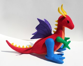 Rainbow Playroom Dragon Fantasy Plush ~ Handcrafted Stuffed Animal Toy, Kids Eco Friendly Gift, Custom Toys, Dragon Doll Plushie