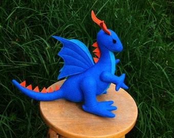 Blue Fire Dragon Fantasy Plush ~ Stuffed Animal Toy, Handcrafted Blue & Orange Dragon, Boys Gift, Eco Friendly Dragon Plushie, Stuffies