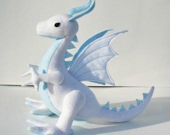 Sky Cloud Dragon Fantasy Plush ~ Eco Friendly Stuffed Animal Toy, White & Blue Dragon, Boys Gift, Stuffies, Plush Dragon, Dragon Stuffie