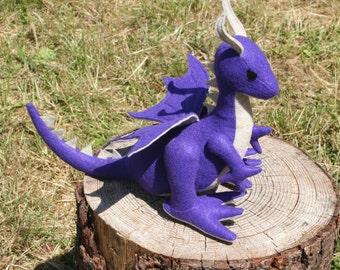 Blackberry Thicket Dragon Fantasy Plush ~ Purple Stuffed Animal Dragon Toy, Eco Friendly, Waldorf, Natural Dragon Toy, Earthy Dragon Plushy