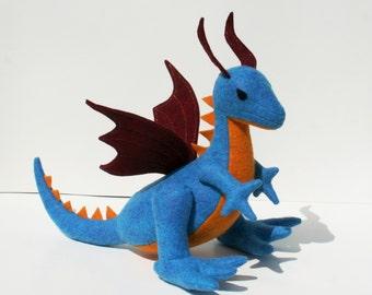 Sky Blaze Dragon Fantasy Plush, Wool Felt ~ Handcrafted, Natural Stuffed Dragon Toy, Earth Friendly, Waldorf Dragon, Dragon Plushies
