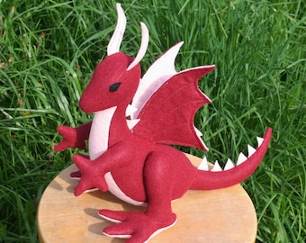 Rose Red Dragon Fantasy Plush ~ Red and Pink Dragon, Handcrafted Eco Friendly Stuffed Animal Toy Dragon Plushie, Girls Gift, Dragon Plushies