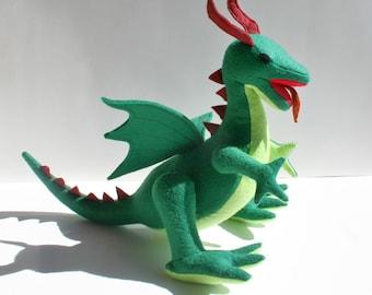 Classic Green Dragon Fantasy Plush ~ Stuffed Animal Toy, Eco Friendly Boys Gift, Dragon Plushies, Handmade Dragon Stuffie