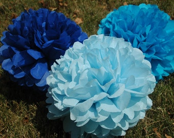Baby shower decorations, Baby Boy, Nursery decoration, Tissue paper poms- It's a boy- FREE CONFETTI - Baby Blue - 12 pcs.  party pom package