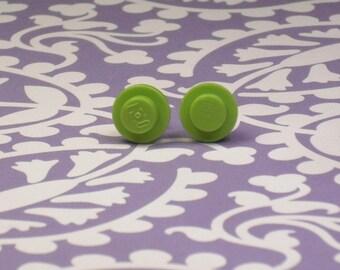 Lime Green Mini Brick/Plate/Disc Stud Earrings
