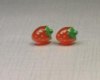 Very Tiny Strawberry Stud Earrings