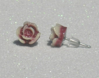 Tiny Wine and Ivory Rose Stud Earrings
