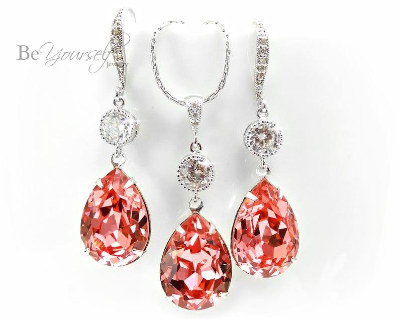 Coral Bridal Earrings Pink Peach Bride Necklace Swarovski image 0