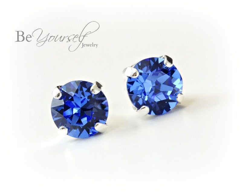 Sapphire Bridal Studs Blue Bride Earrings Delicate 8mm image 0