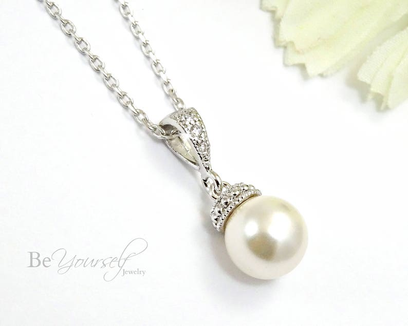 Pearl Bridal Necklace Wedding Jewelry Delicate Pearl Bride image 0