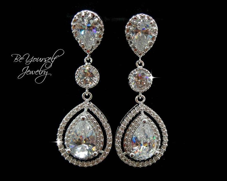 White Crystal Bridal Earrings Cubic Zirconia Teardrop Bride image 0