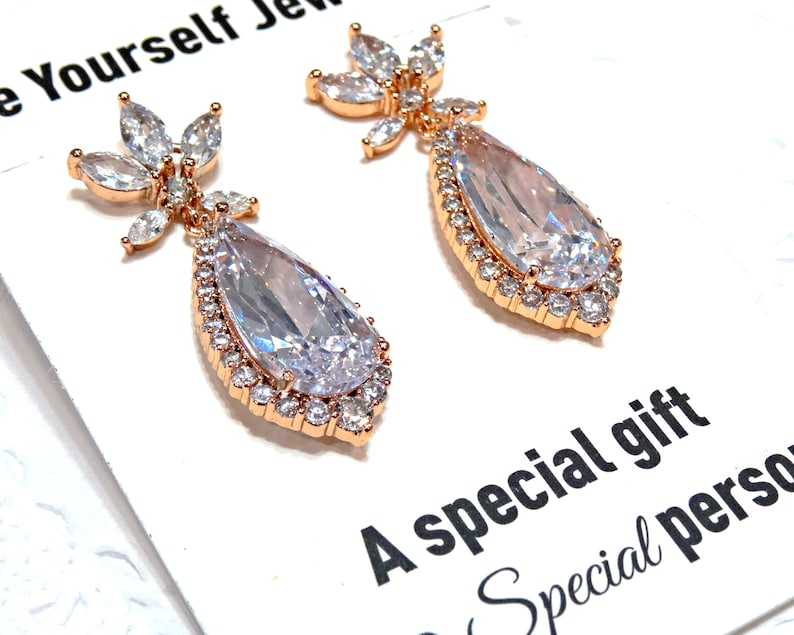 White Crystal Bridal Earrings Rose Gold Cubic Zirconia image 0