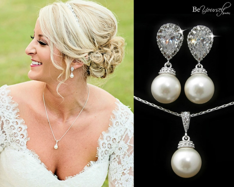 Pearl Bridal Earrings Bride Necklace White Crystal Wedding image 0