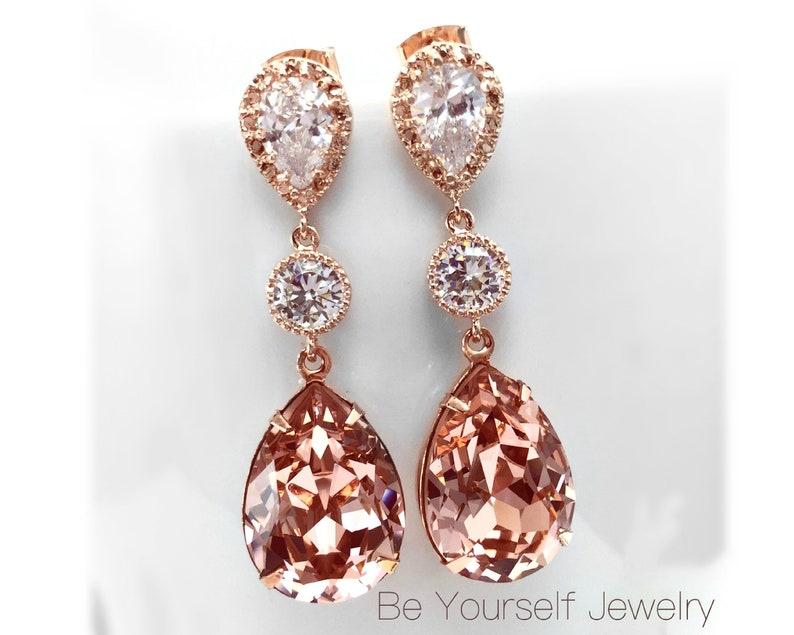 Blush Bridal Earrings Rose Gold Bride Earrings Soft Pink image 0