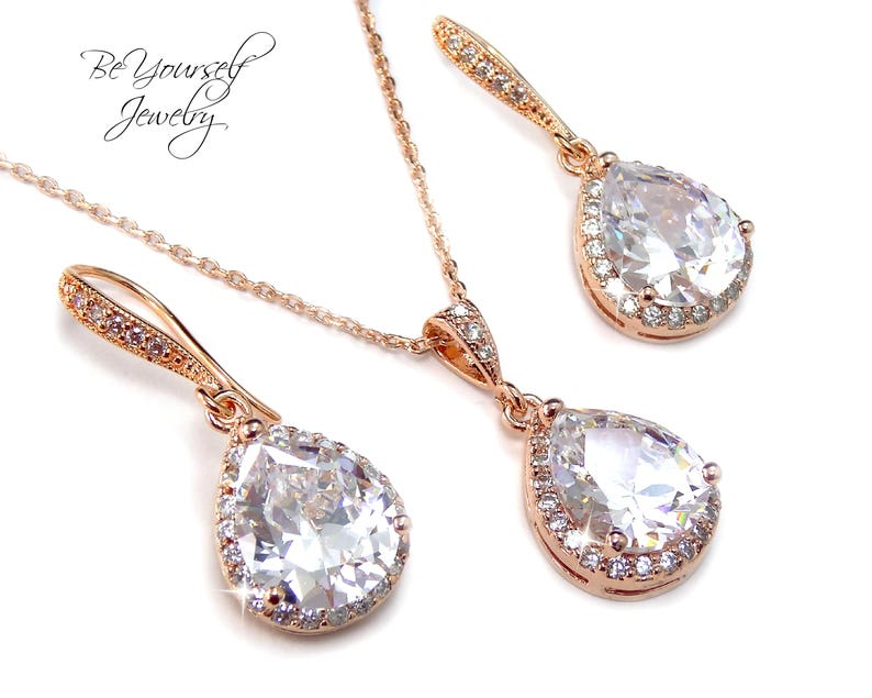 Rose Gold Bridal Earrings White Crystal Teardrop Bride image 0