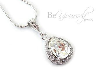 White Crystal Bridal Necklace Teardrop Bride Necklace Swarovski Crystal Wedding Jewelry Bridesmaid Gift Wedding Pendant Bridal Jewelry CZ