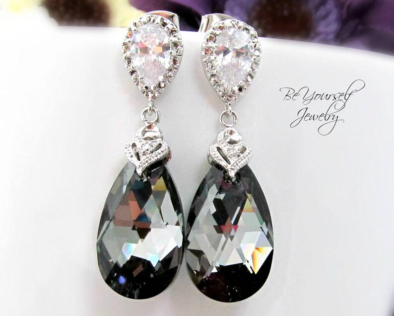 Dark Grey Bridal Earrings Charcoal Teardrop Bride Earrings image 0
