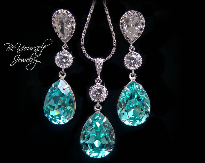 Teal Blue Bridal Earrings Sea Green Teardrop Bride Necklace image 0