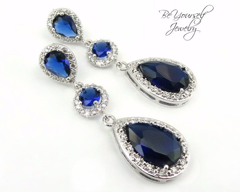 Sapphire Bridal Earrings Blue Teardrop Wedding Earrings Cubic image 0