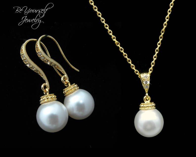 Pearl Bridal Earring Gold Bride Necklace Wedding Jewelry image 0