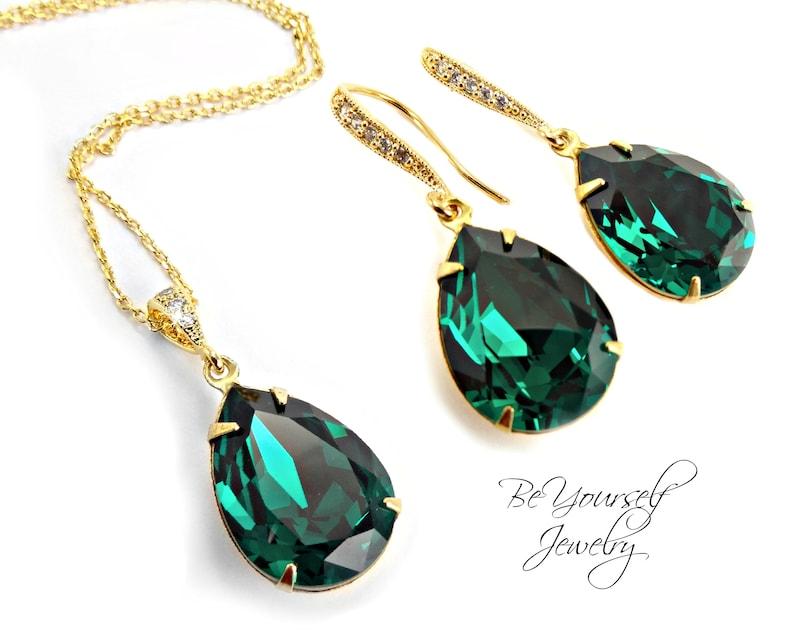 f293f08fd1ab4 Emerald Bridal Earrings Gold Teardrop Bride Necklace Swarovski Crystal Dark  Green Wedding Jewelry Bridesmaid Gift Emerald Bridal Jewelry