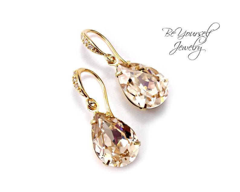 Champagne Bridal Earrings Gold Pastel Bride Earrings Wedding image 0