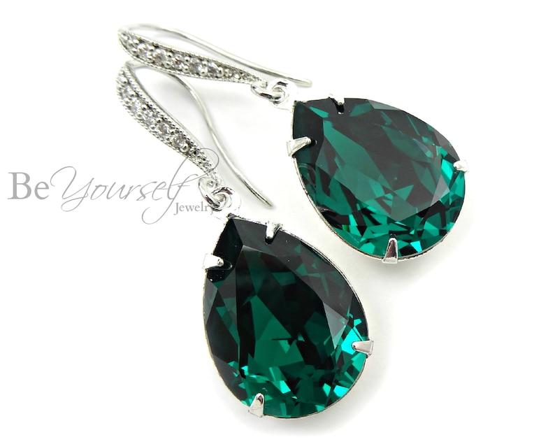 Emerald Bridal Earrings Green Bride Earrings Wedding Jewelry image 0