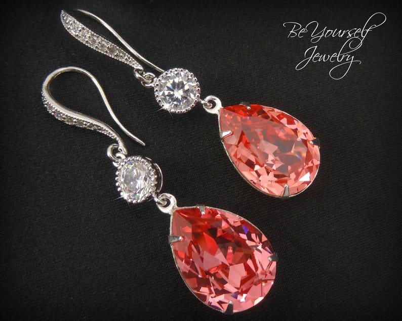 Coral Bridal Earrings Peach Teardrop Bride Earrings Swarovski image 0
