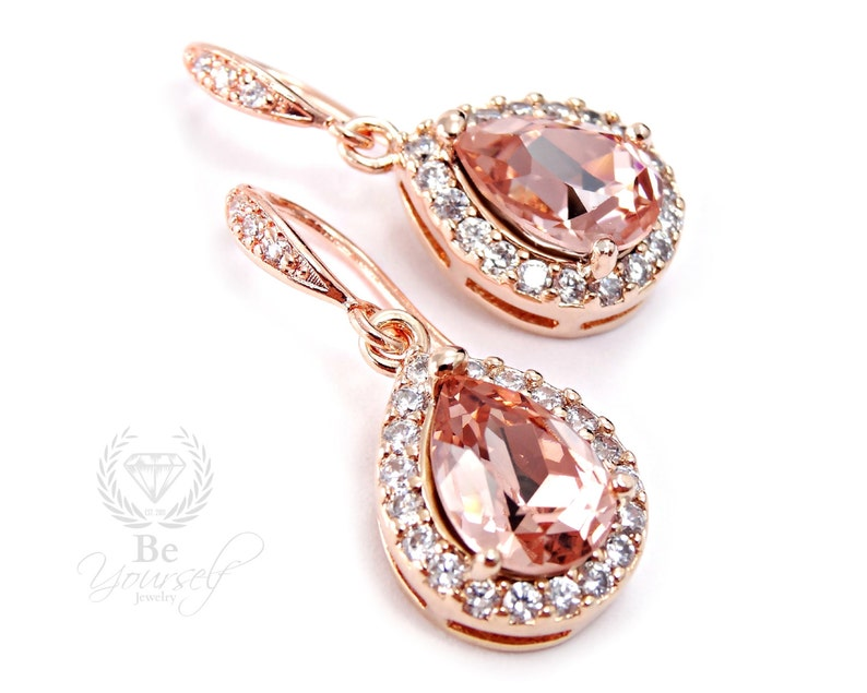 Blush Wedding Earrings Soft Pink Bridal Teardrop Earrings image 0