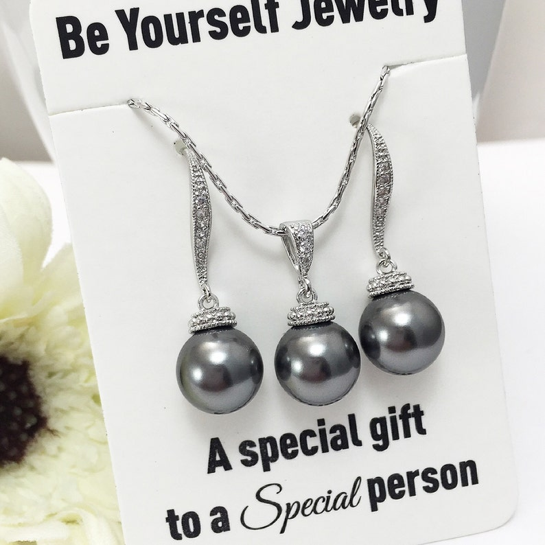 Dark Gray Pearl Bridal Earrings Charcoal Bride Necklace image 0