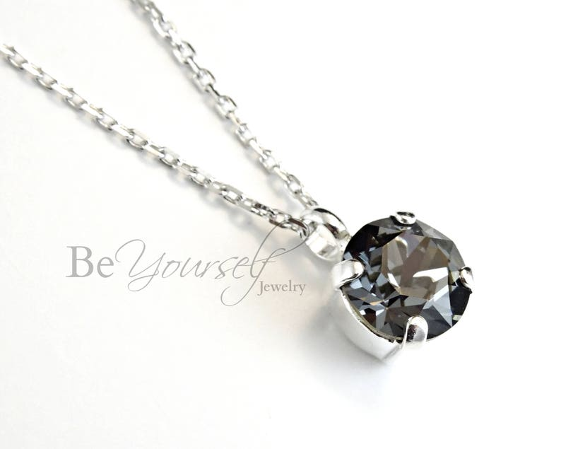 Dark Grey Bridal Necklace Solitaire Charcoal Bride Necklace image 0