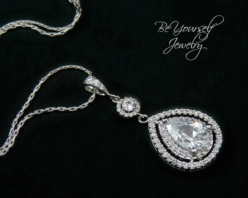 White Crystal Bridal Necklace Wedding Jewelry Teardrop Bride image 0