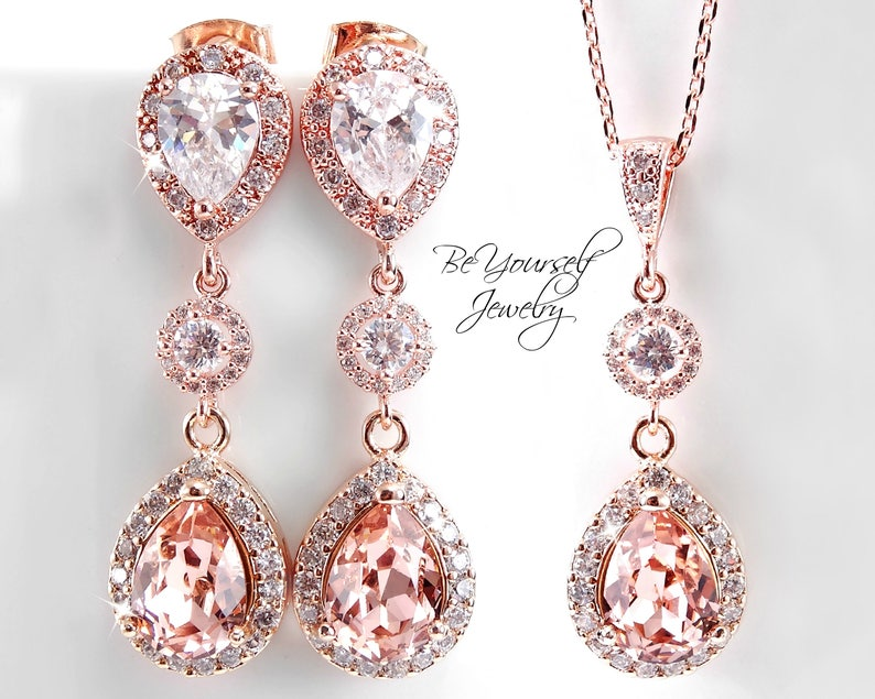 Soft Pink Bridal Earrings Rose Gold Teardrop Bride Necklace image 0