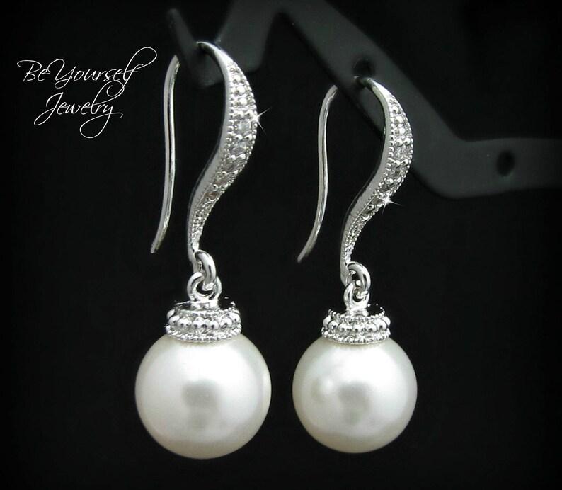 Pearl Bridal Earrings Bridesmaid Gift Earrings Swarovski image 0