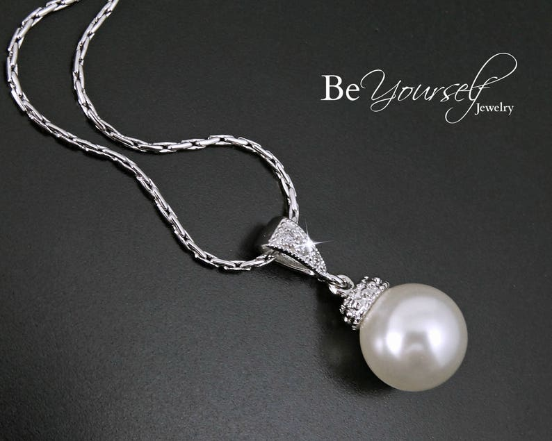 Pearl Wedding Necklace Bridal Necklace Pearl Bride Pendant image 0