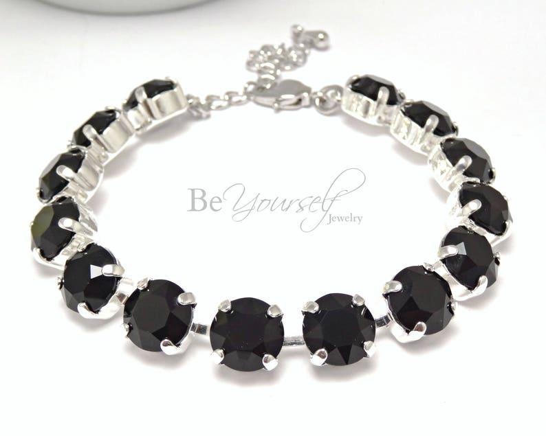 Black Bridal Bracelet Swarovski Crystal Jet Black Bride image 0