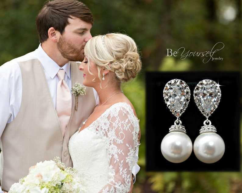 Wedding Earrings Pearl Bridal Earrings Bride Earrings Wedding image 0