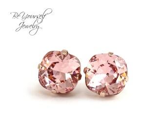 Blush Bridal Earrings Soft Pink Bridesmaid Gift Swarovski Crystal Vintage Rose Stud Pastel Bride Earring Rose Gold Pale Pink Wedding Jewelry