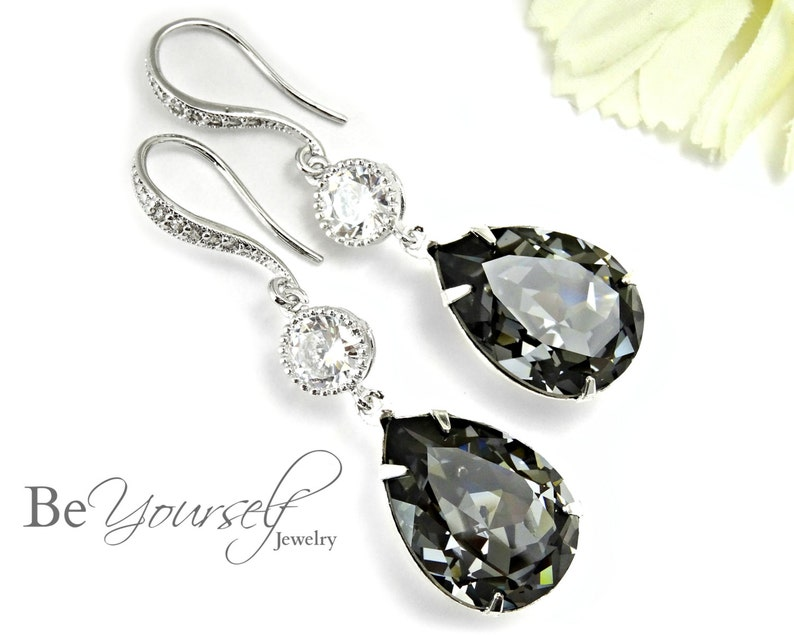 Dark Grey Bridal Earrings Charcoal Teardrop Bride Earring image 0