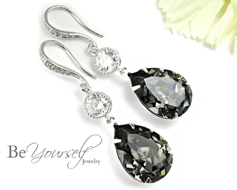 b6e71b2f5 Dark Grey Bridal Earrings Charcoal Teardrop Bride Earring | Etsy