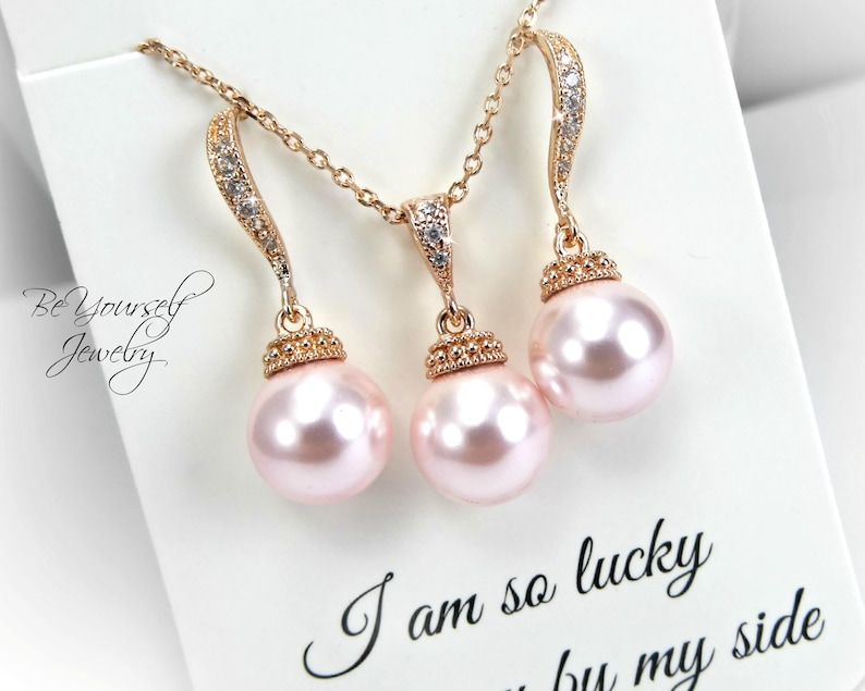 Wedding Jewelry Rose Gold Pearl Bridal Earrings & Necklace Set image 0