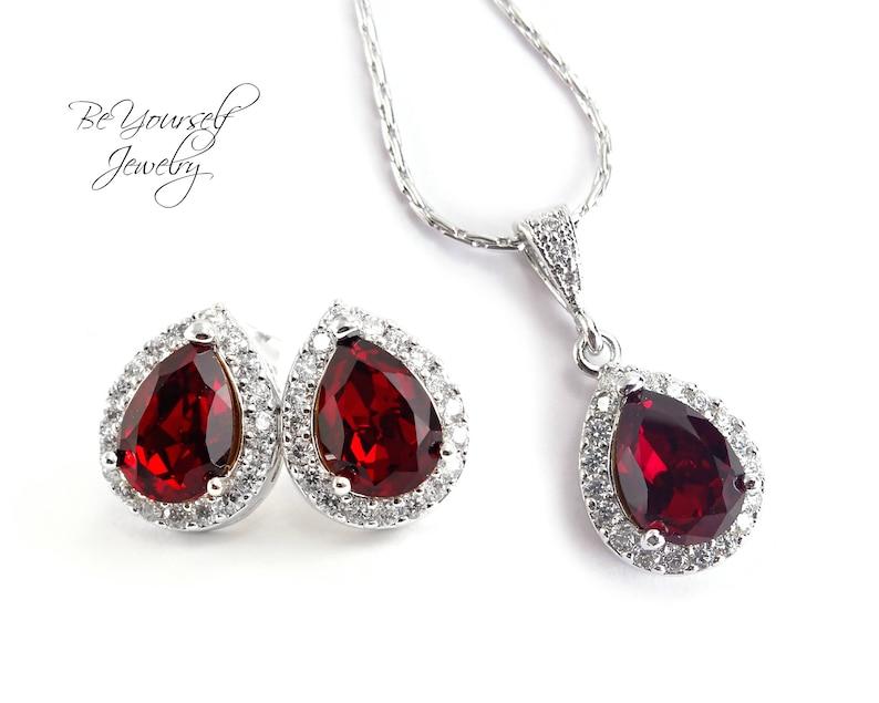 Red Wedding Jewelry Garnet Teardrop Bridal Earrings Ruby Bride image 0