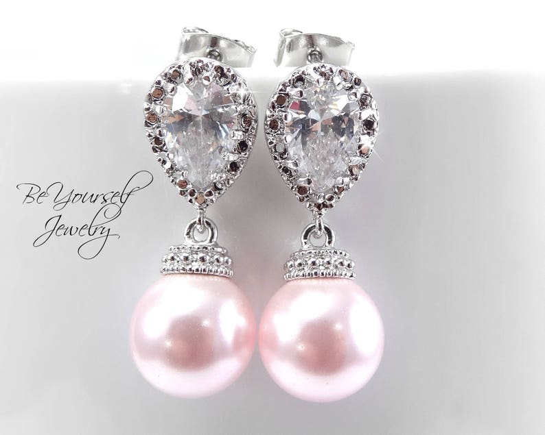 Wedding Earrings Soft Pink Pearl Bridal Earring Blush Bride image 0