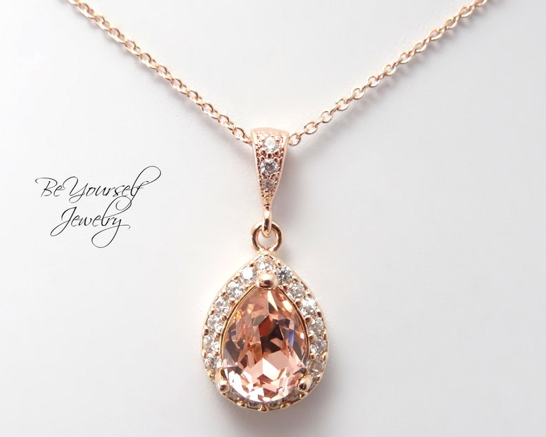Bridal Necklace Soft Pink Wedding Necklace Swarovski Vintage image 0