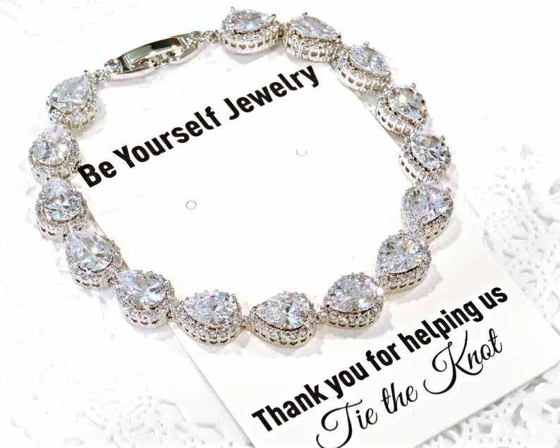 Wedding Bracelet Bridal Bracelet Teardrop Bride Bracelet image 0