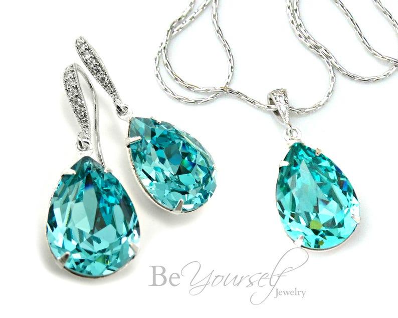 Teal Blue Bridal Earrings Sea Green Teardrop Bride Necklace image 0