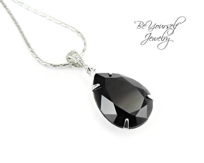 Black Necklace Teardrop Bridal Necklace Swarovski Crystal Jet image 0