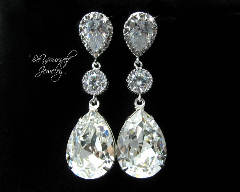 White Crystal Bridal Earrings Teardrop Bride Earrings image 0