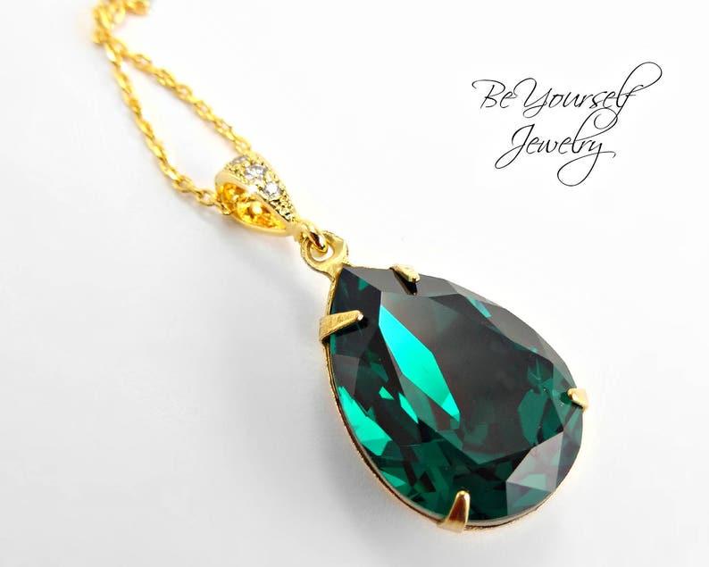 Emerald Bridal Necklace Dark Green Teardrop Bride Pendant image 0