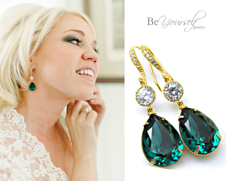 e8cc0256c3c9e Emerald Bridal Earring Green Teardrop Bride Earring Swarovski Crystal  Emerald Wedding Jewelry Gold Dark Green Bridesmaid Gift Cubic Zirconia